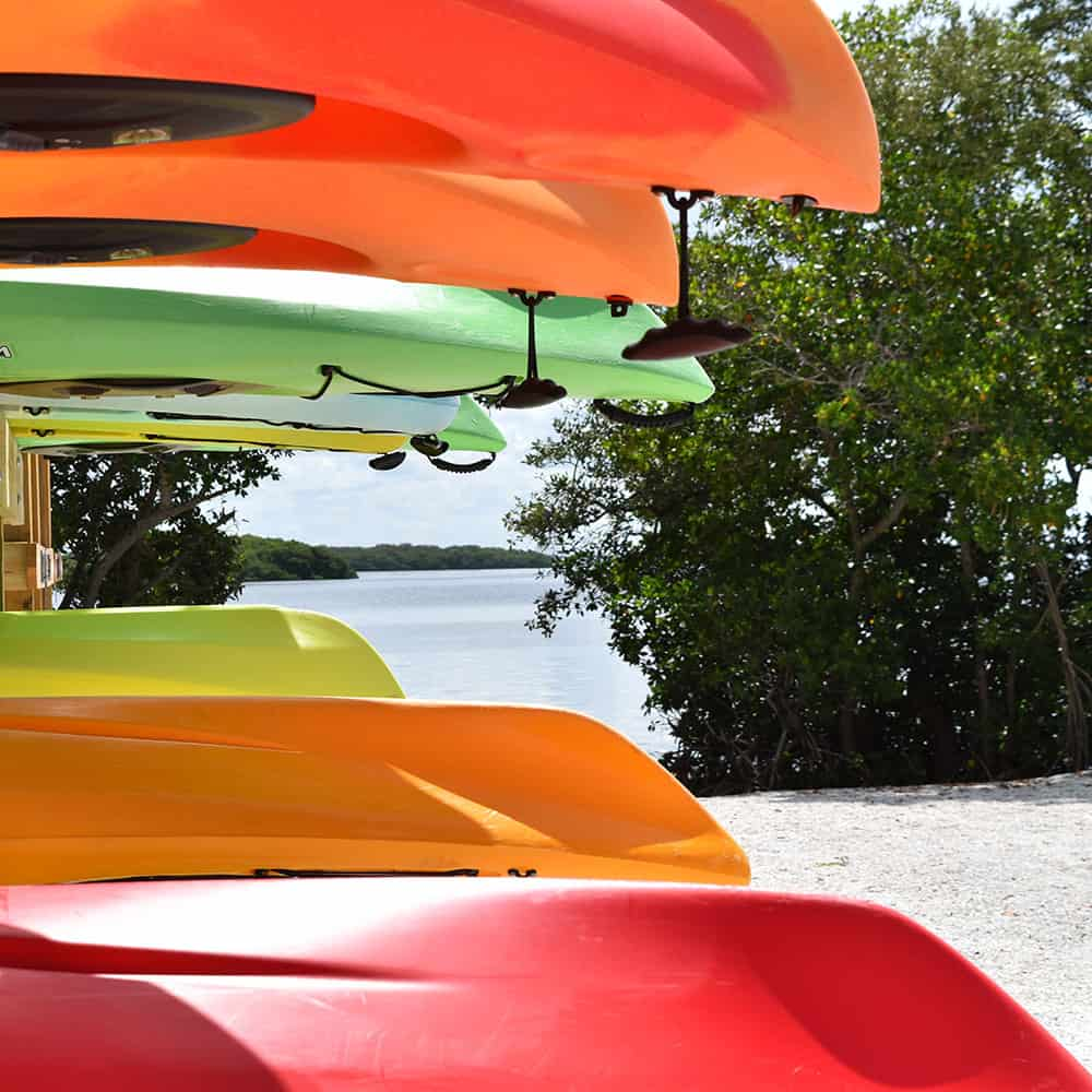 Kayaks stored at rental pavilion at Bayfront Park Longboat Key Florida