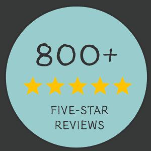 Award emblem showing more than 800 five-star reviews