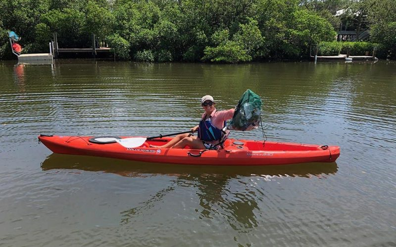 Paddle Clean Initiative collecting litter in Sarasota bay