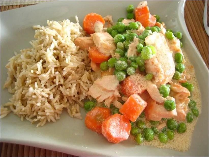 blanquette de saumon aux petits pois