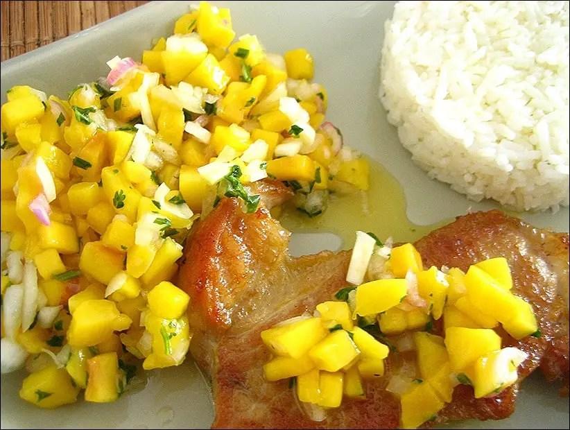 côte de veau à la salsa de mangue