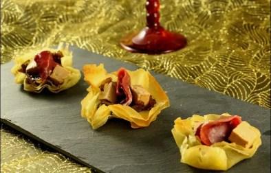 bouchées apéritives croustillantes au magret et foie gras