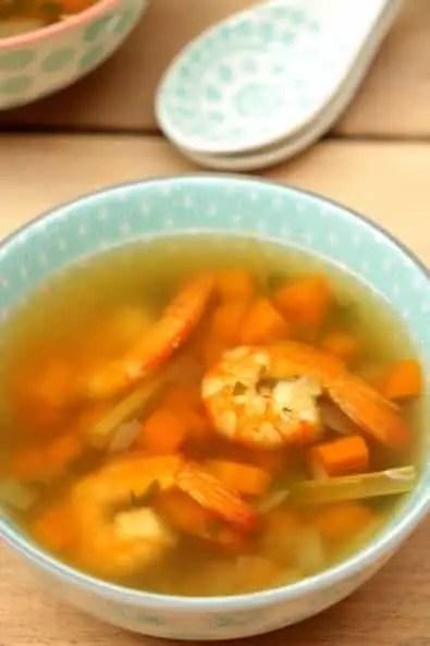 bouillon crevettes gingembre