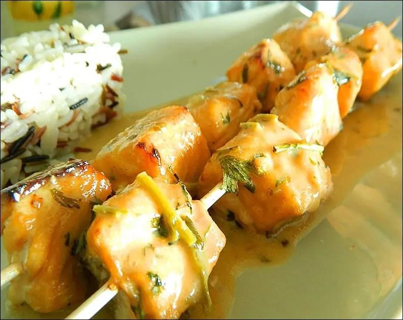 brochettes saumon mariné