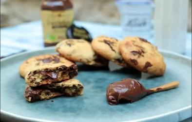 cookies cœur coulant chocolat noisettes