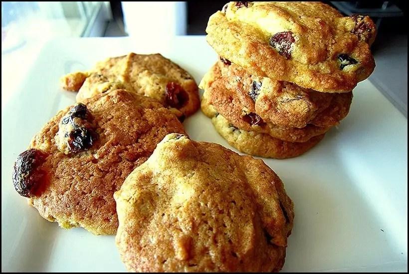 cookies aux raisins et cranberries
