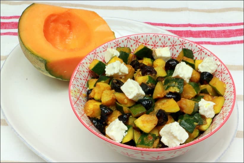 courgette aux épices feta et olives noires