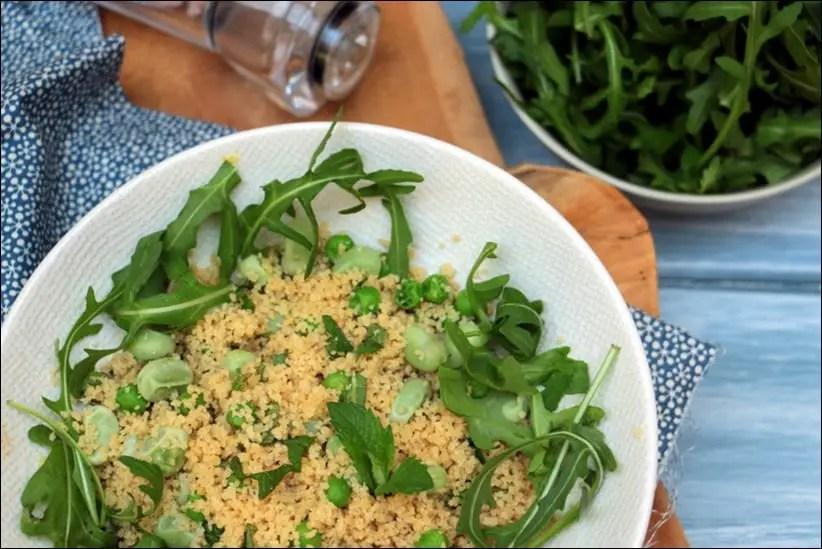 Couscous végétarien aux fèves et petits pois