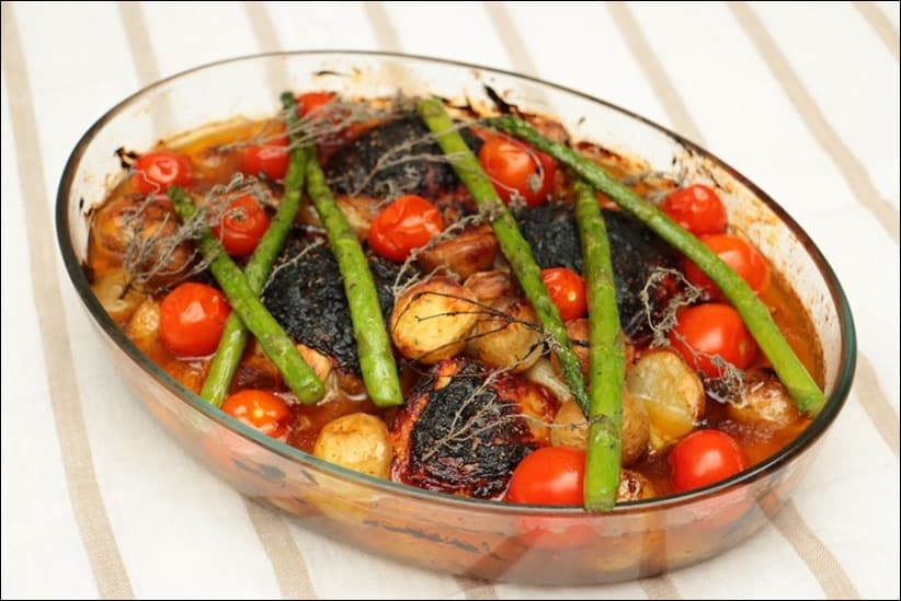 cuisse de poulet roti et pomme de terre
