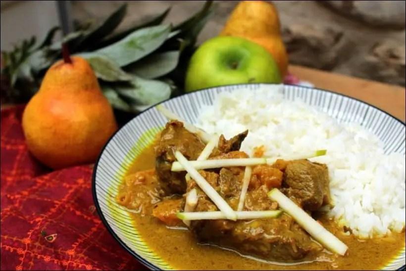 agneau curry et lait de coco ananas poire