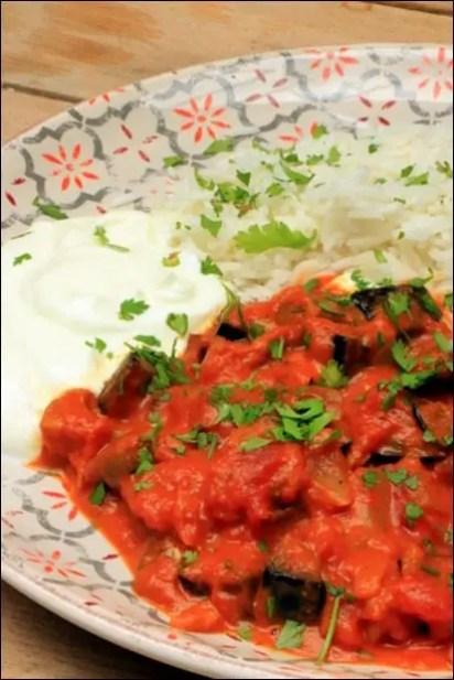 curry d'aubergine au lait de coco