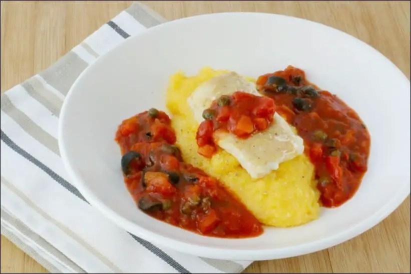 loup tomate polenta