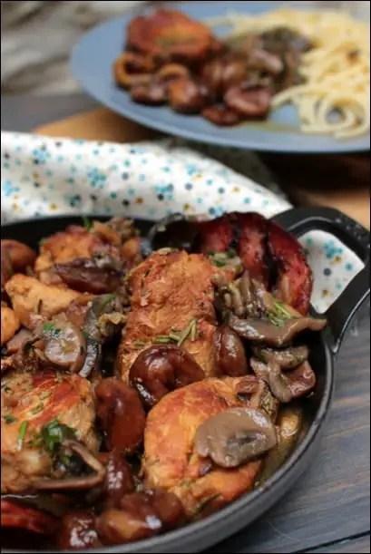Filet mignon porc cidre châtaignes champignons