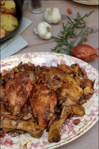 fricassée de poulet aux champignons