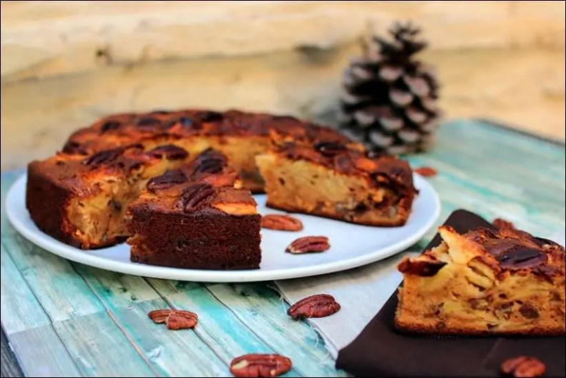 gâteau aux pommes miel et noix de pécan