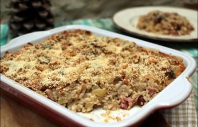gratin de crozets aux champignons et à la saucisse de Montbéliard