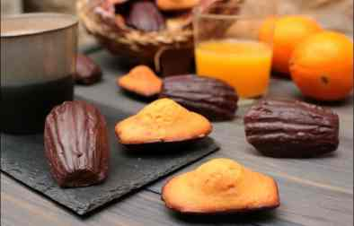 madeleines à l'orange coque chocolat