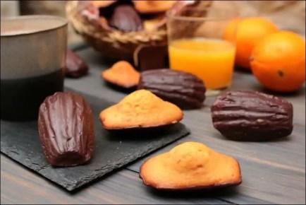 madeleines à l'orange coque chocolat