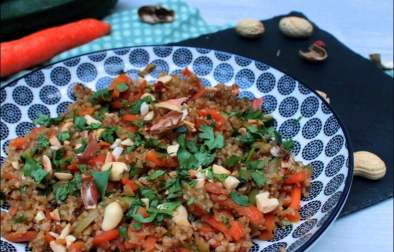 pilpil aux carottes et courgettes sautées à l'huile de sésame