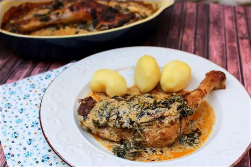 poulet à la crème de parmesan et épinards