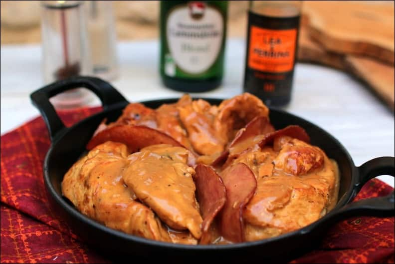 poulet à la bière bacon et chèvre frais