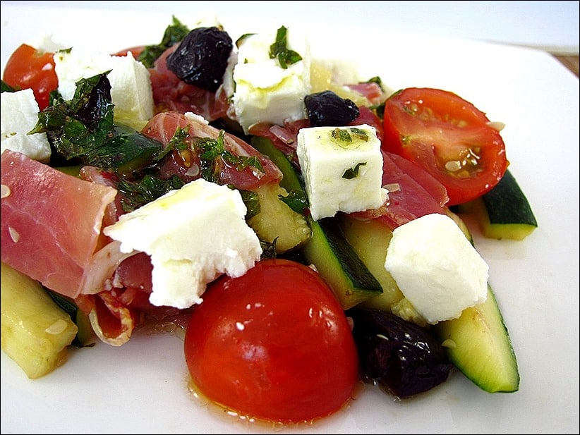 salade courgette feta tomate