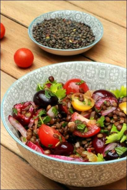 salade lentilles cerises