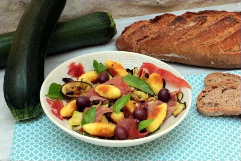salade de courgettes grillées et mini quenelles
