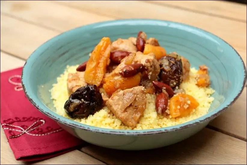 tajine express de poulet aux fruits secs