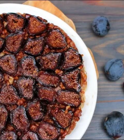 tarte tatin aux figues, noix et miel