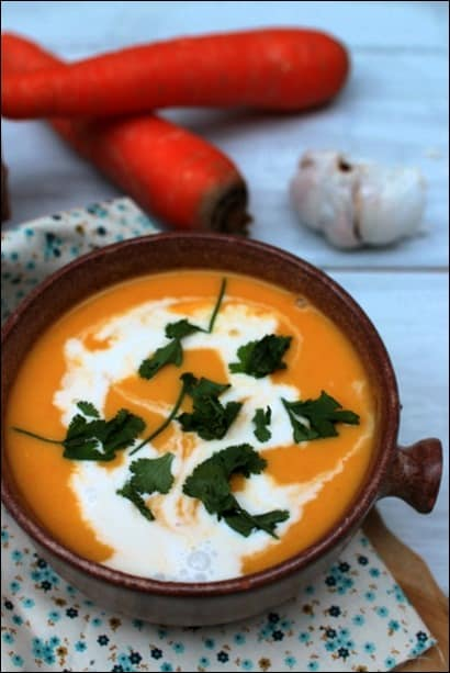soupe carotte lait de coco gingembre