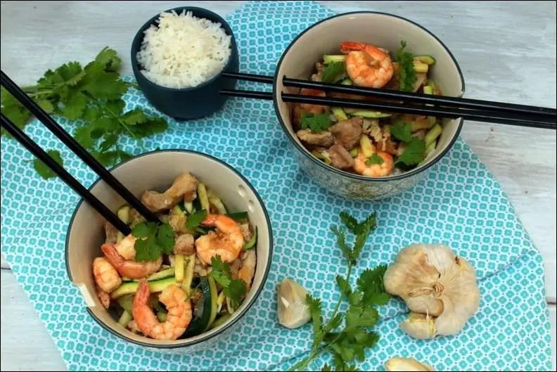wok crevettes courgettes