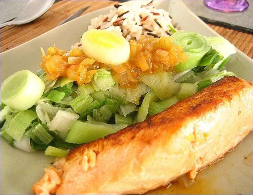 saumon poireau gingembre