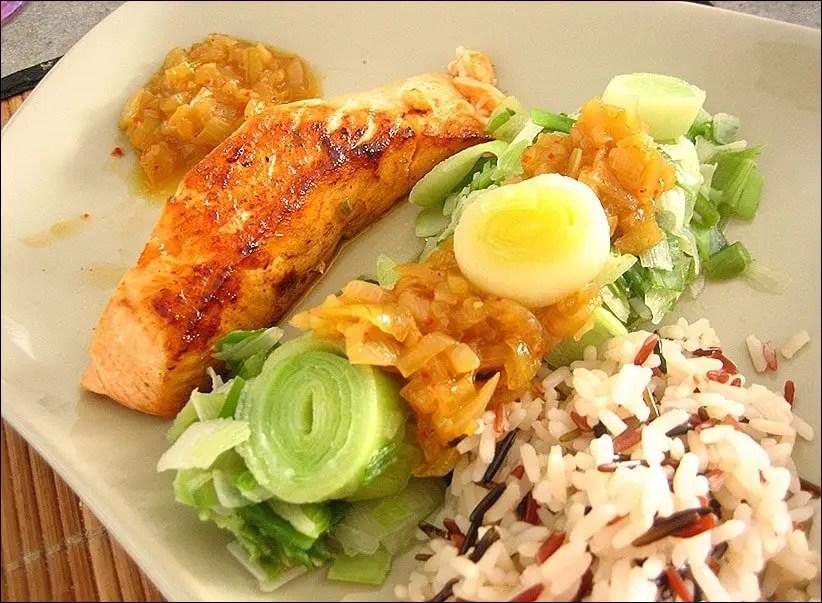 pavés de saumon au poireau à l'asiatique