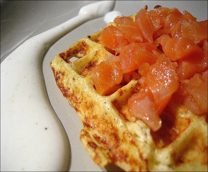 gaufres pomme de terre et saumon
