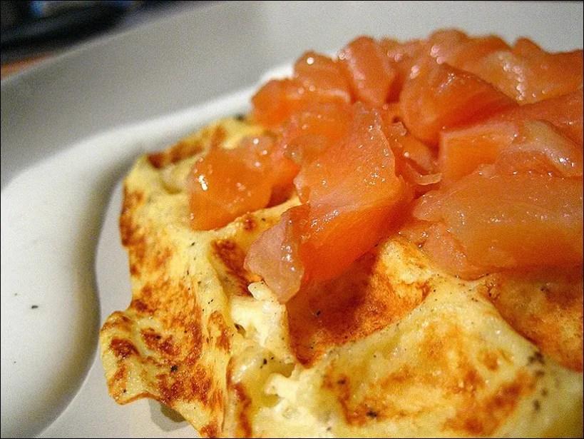 gaufres de pomme de terre et saumon fumé