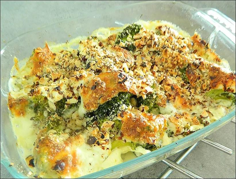gratin de brocolis au chèvre frais et noisettes