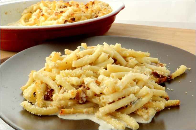 gratin de macaroni au gorgonzola et noix