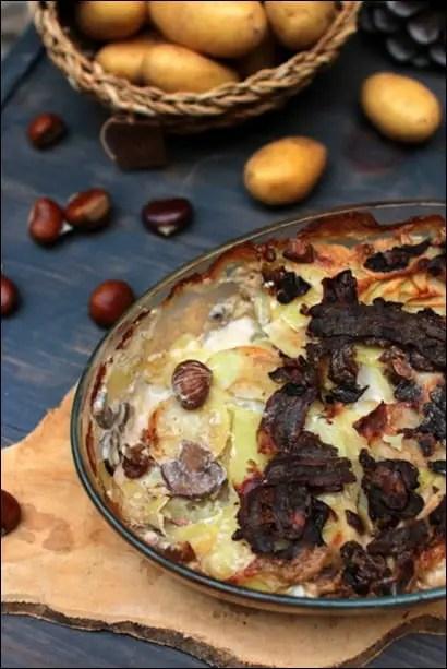 gratin pomme de terre champignons lardons