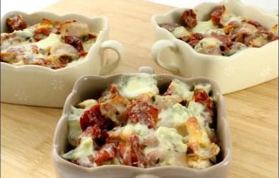 gratin de quenelles de volaille aux tomates séchées et gorgonzola