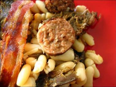 gratin de haricots blancs au porc