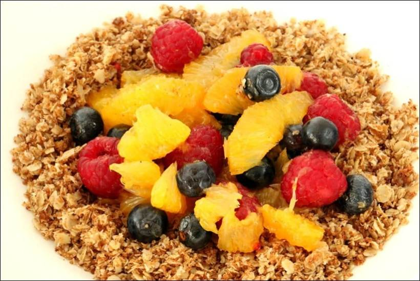 muesli myrtilles framboises coco orange