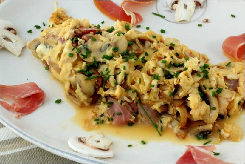 omelette jambon cru champignons