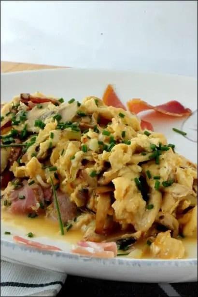 omelette jambon et champignons
