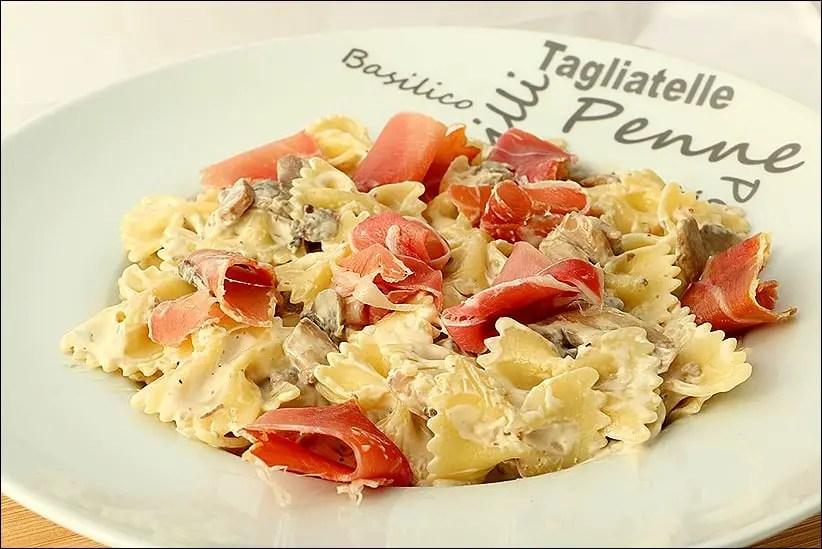 pâtes au jambon cru champignons et mascarpone