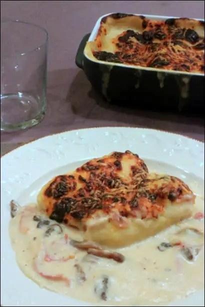 quenelles jambon champignons bechamel