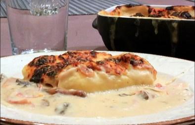 quenelles au jambon et champignons gratinées