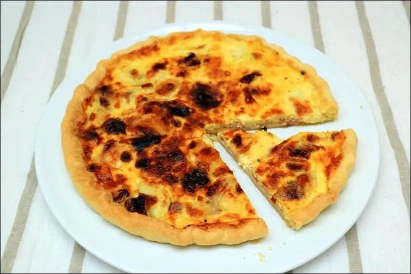 quiche au bacon aux tomates séchées et mozzarella