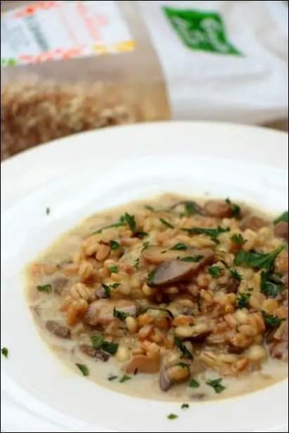risotto céréales champignons mozzarella