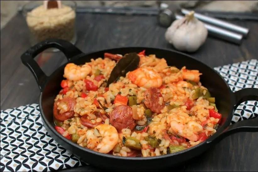 riz créole aux crevettes sautées et chorizo